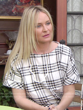 Sharon's plaid knot-front top on The Young and the Restless