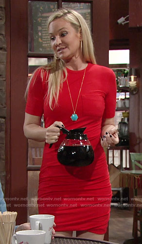 Sharon's red ruched t-shirt dress on The Young and the Restless