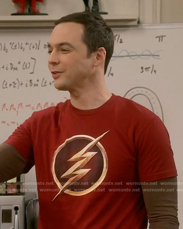 Sheldon's gold The Flash logo t-shirt on The Big Bang Theory