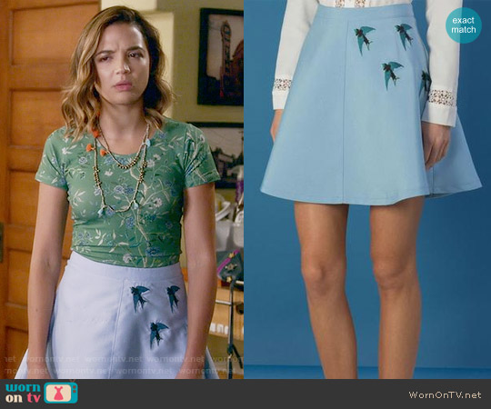 Sister Jane Blue Horizon Skirt worn by Cassandra (Georgie Flores) on Famous in Love