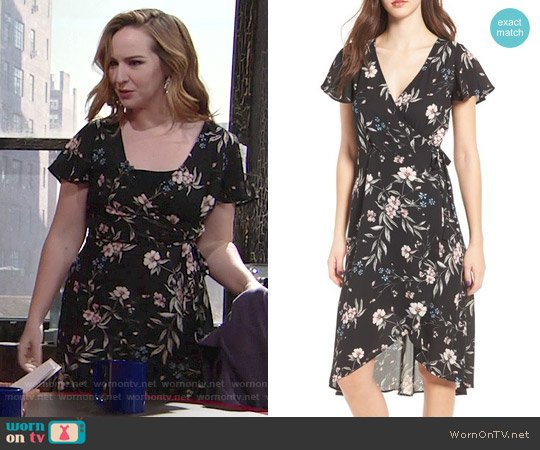 Socialite Floral Print Wrap Dress worn by Camryn Grimes on The Young & the Restless