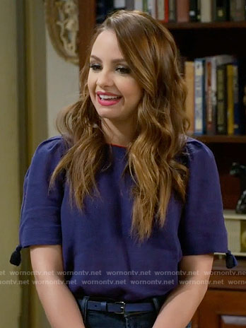 Sofia's blue top with tassels on Young and Hungry