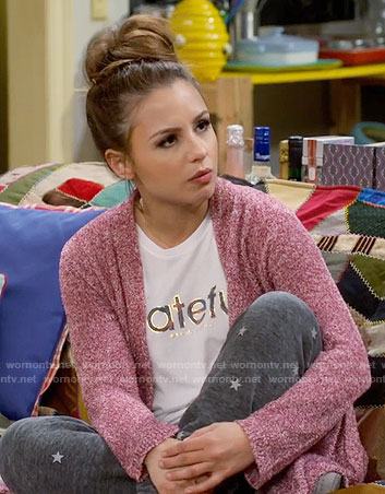 Sofia's grateful graphic tee and star print sweatpants on Young and Hungry