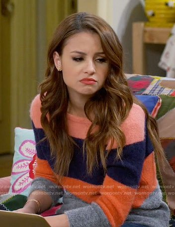 Sofia's striped v-back sweater on Young and Hungry