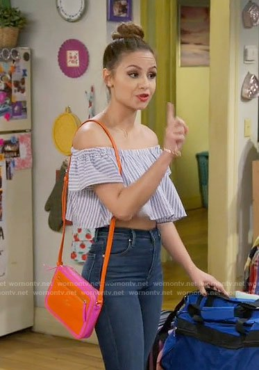 Sophia's striped off-shoulder crop top on Young and Hungry
