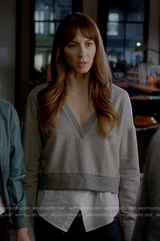 Spencer's grey v-neck layered sweater on Pretty Little Liars