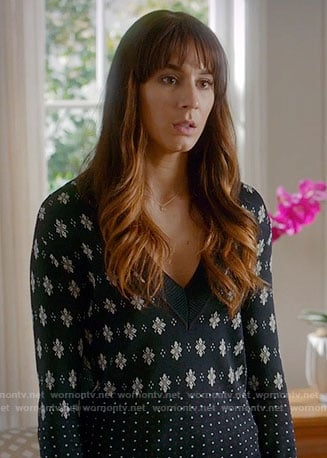 Spencer's navy mixed print v-neck sweater on Pretty Little Liars