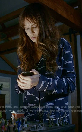 Spencer's plane print pajama shirt on Pretty Little Liars