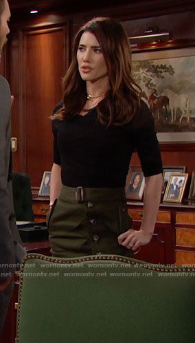 Steffy's green buttoned front skirt and black top on The Bold and the Beautiful