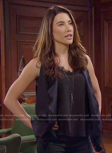 Steffy's lace trim top and vest on The Bold and the Beautiful