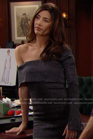 Steffy's pinstriped one-sleeve dress on The Bold and the Beautiful