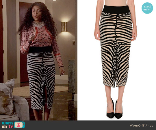Stella McCartney Zebra-Print Slim Slit-Back Skirt worn by Cookie Lyon on Empire