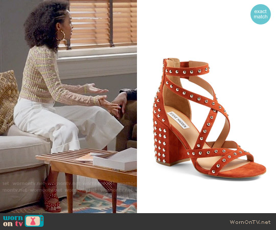 Steve Madden Fara-S Sandal in Rust Suede worn by Yara Shahidi on Blackish