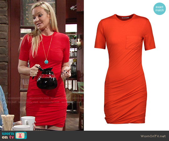 T by Alexander Wang Ruched stretch-jersey mini dress worn by Sharon Case on The Young & the Restless