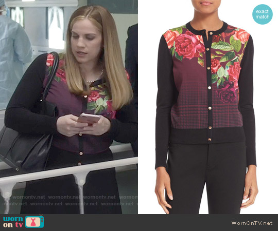 Ted Baker Teeah Juxtapose Rose Cardigan worn by Anna Chlumsky on Veep