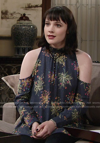 Tessa's navy printed cold-shoulder tunic on The Young and the Restless