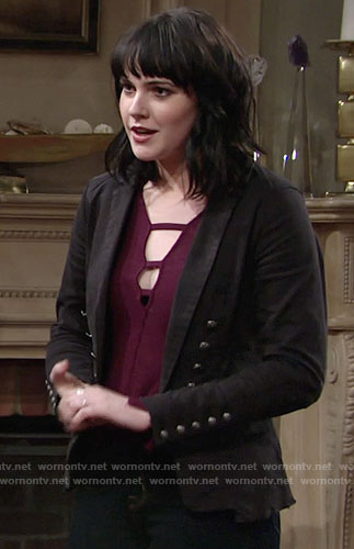 Tessa's purple cutout top and black jacket on The Young and the Restless