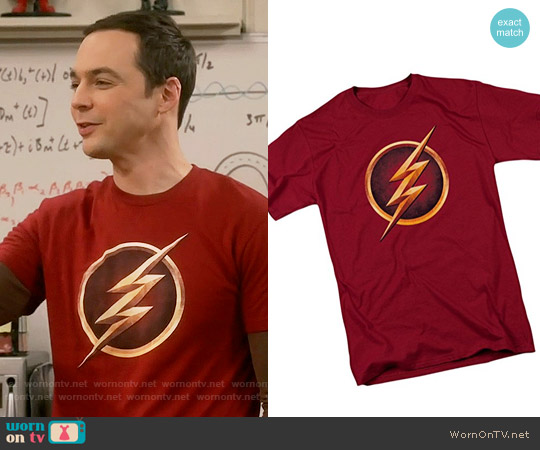 The Flash Logo T-shirt worn by Sheldon Cooper (Jim Parsons) on The Big Bang Theory
