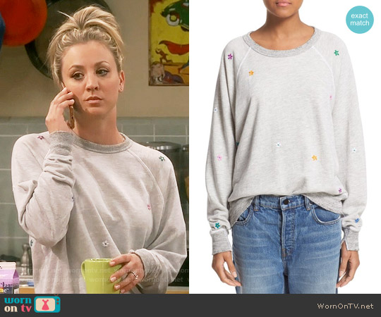 The Great 'The College' Embroidered Sweatshirt worn by Kaley Cuoco on The Big Bang Theory