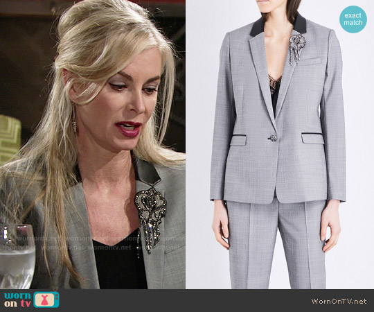 The Kooples Leather trim wool blazer worn by Eileen Davidson on The Young & the Restless
