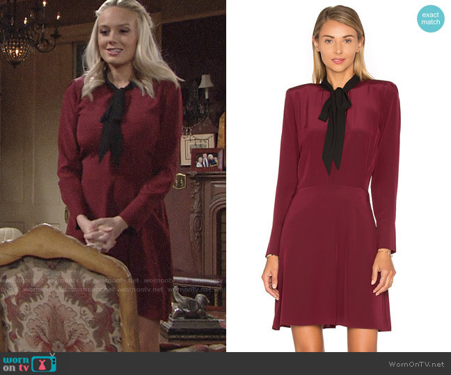 The Kooples Long Sleeve Tie Neck Dress worn by Melissa Ordway on The Young & the Restless