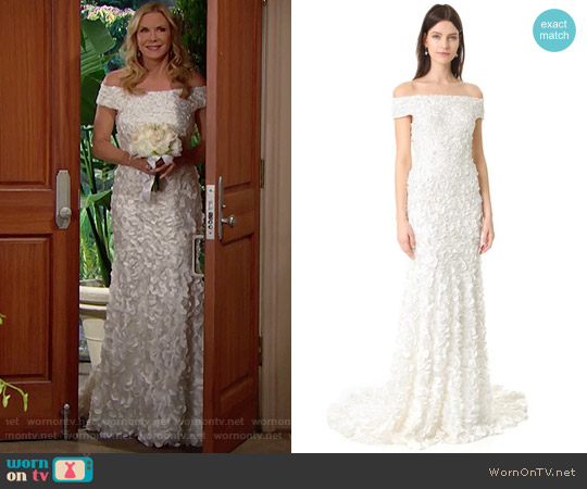 Theia Marina Off the Shoulder Petal Gown worn by Katherine Kelly Lang on The Bold & the Beautiful