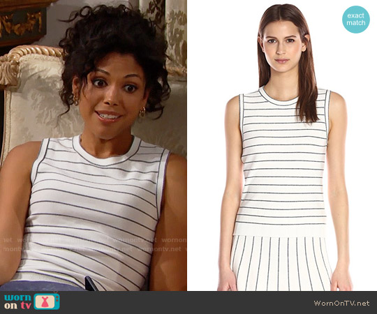 Theory Kralla Sl Prosecco Sleeveless Sweater worn by Karla Mosley on The Bold & the Beautiful