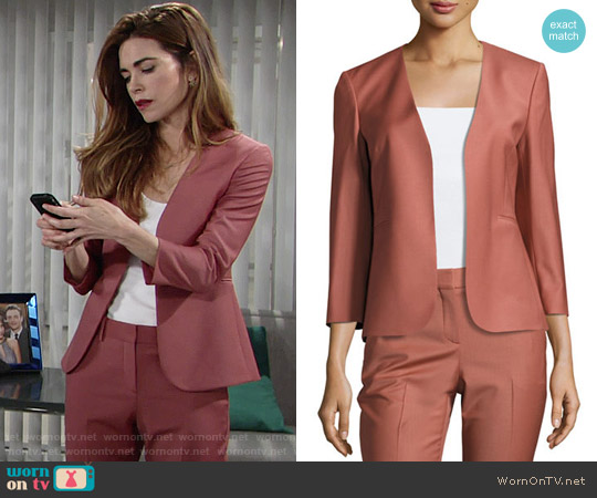 Theory Lindrayia Blazer and Treeca Pants in Deep Rose worn by Victoria Newman (Amelia Heinle) on The Young & the Restless
