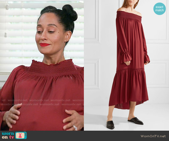 Theory Off-the-shoulder smocked silk-jersey midi dress worn by Tracee Ellis Ross on Blackish