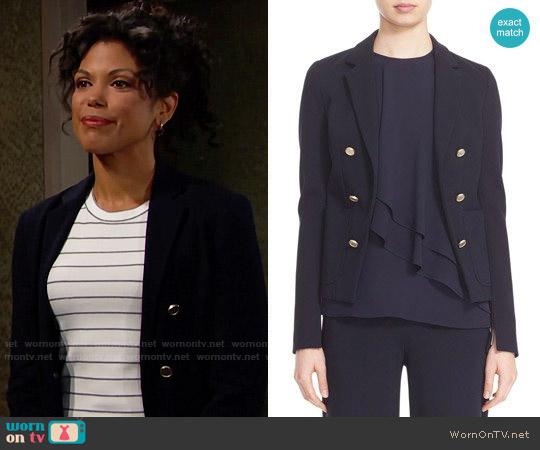 Theory Jonita K Fixture Ponte Jacket worn by Maya Avant on The Bold & the Beautiful