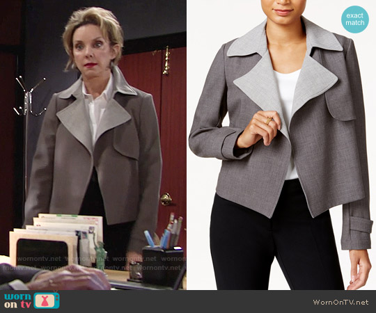 Tommy Hilfiger Contrast-Trim Trench Jacket worn by Gloria Abbott Bardwell (Judith Chapman) on The Young & the Restless