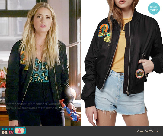 Topshop 'Badged Bruce' Bomber Jacket worn by Hanna Marin on PLL