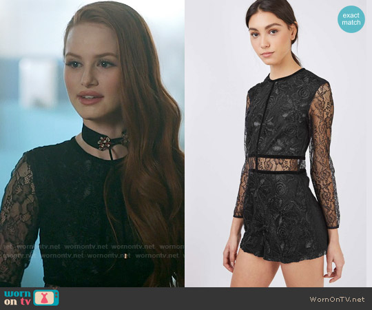Topshop Lace Playsuit worn by Madelaine Petsch on Riverdale