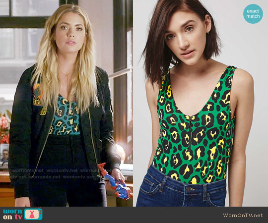 Topshop Green Animal Zip Body worn by Ashley Benson on PLL