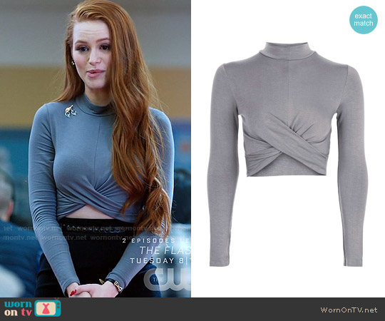 Topshop Long Sleeve Twist Front Crop Top worn by Cheryl Blossom (Madelaine Petsch) on Riverdale