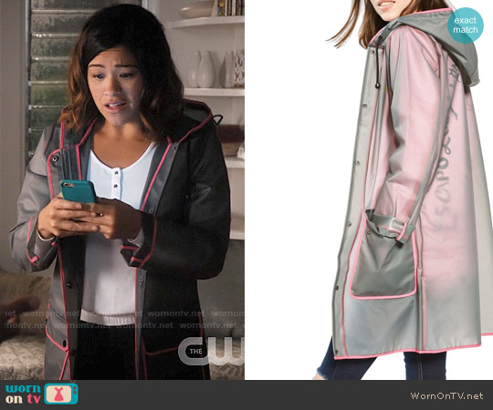 Topshop Piped Mac Rain Jacket worn by Gina Rodriguez on Jane the Virgin