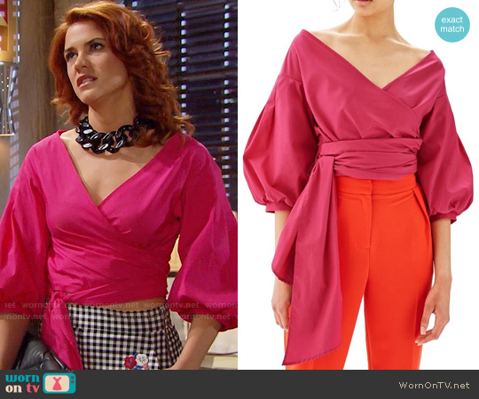 Topshop Puff Sleeve Wrap Top worn by Courtney Hope on The Bold & the Beautiful