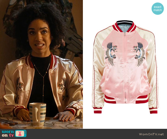 Topshop Two-in-One Reversible Bomber Jacket worn by Pearl Mackie on Doctor Who