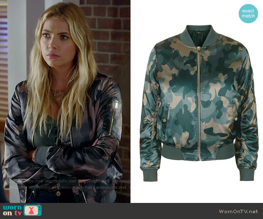 Topshop Shiny Camo Print MA-1 Bomber Jacket worn by Ashley Benson on PLL