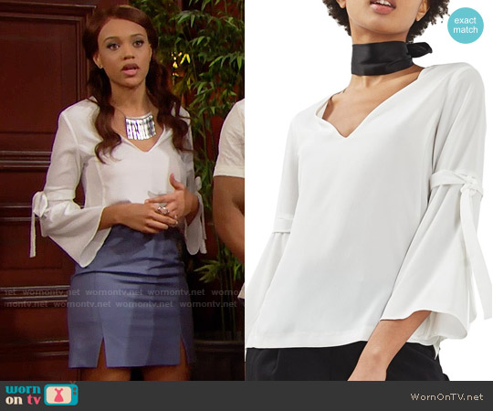 Topshop Tie Sleeve Trumpet Blouse worn by Reign Edwards on The Bold & the Beautiful