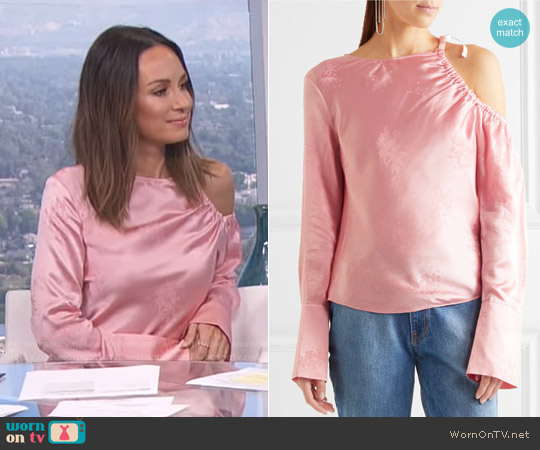 Topshop Unique Lambeth cutout silk-jacquard blouse worn by Catt Sadler on E! News