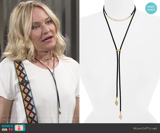 Vanessa Mooney The Cicely Bolo Necklace worn by Sharon Collins on The Young & the Restless