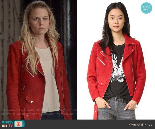 Veda Jayne Jacket in Red Suede worn by Jennifer Morrison on OUAT