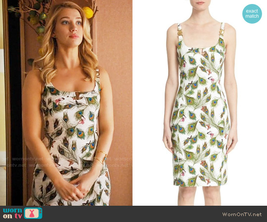 Versace Collection Peacock Print Sheath Dress worn by Petra Solano (Yael Grobglas) on Jane the Virgin