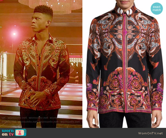 Versace Collection Bold Ethnic Graphic Silk Shirt worn by Hakeem Lyon (Bryshere Y. Gray) on Empire