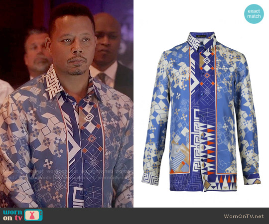 Versace Domino Foulard Silk Shirt worn by Terrence Howard on Empire