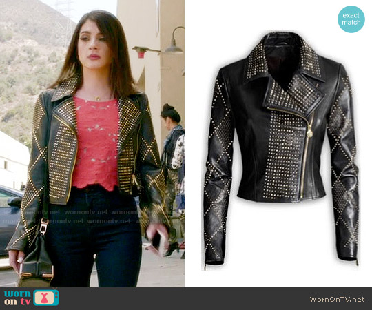 Versace x H&M Studded Leather Jacket worn by Niki Koss on Famous in Love