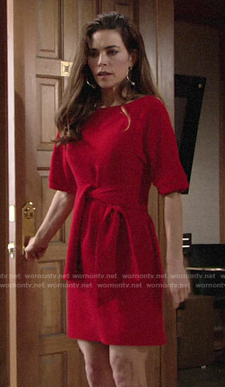 Victoria's red tie-waist dress on The Young and the Restless