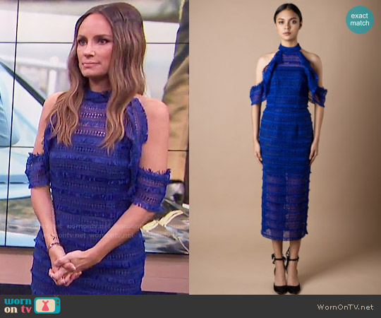 Vone FW17 Collection Blue Lace Dress worn by Catt Sadler on E! News