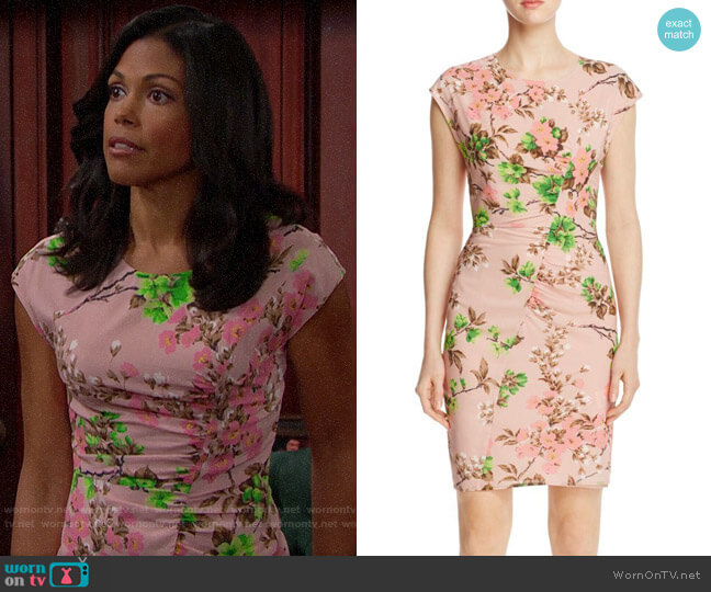Whistles Maria Blossom-Print Dress worn by Maya Avant (Karla Mosley) on The Bold & the Beautiful